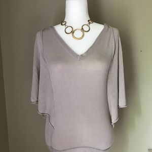 La Made Grey Lilac Flutter Sleeve Top Medium